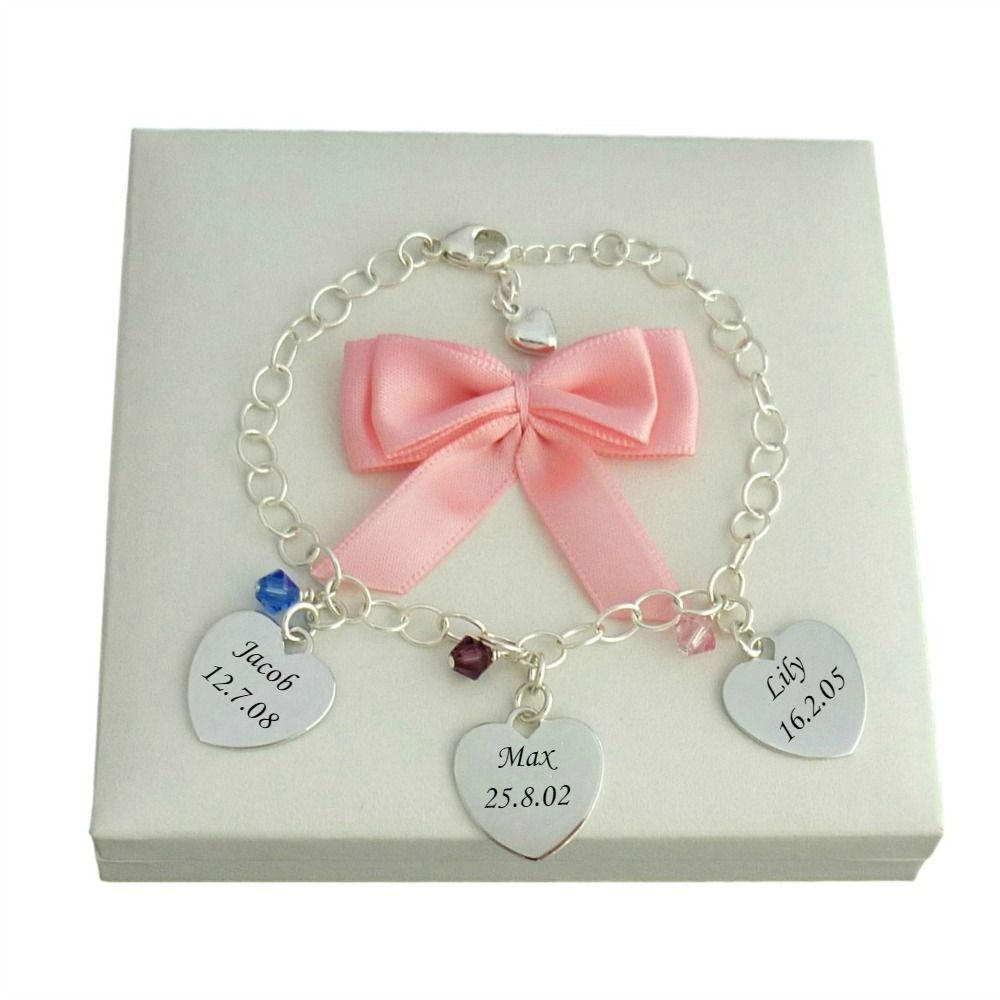 Engraved Charms For Bracelets: Sterling Silver Charm Bracelet With Birthstone
